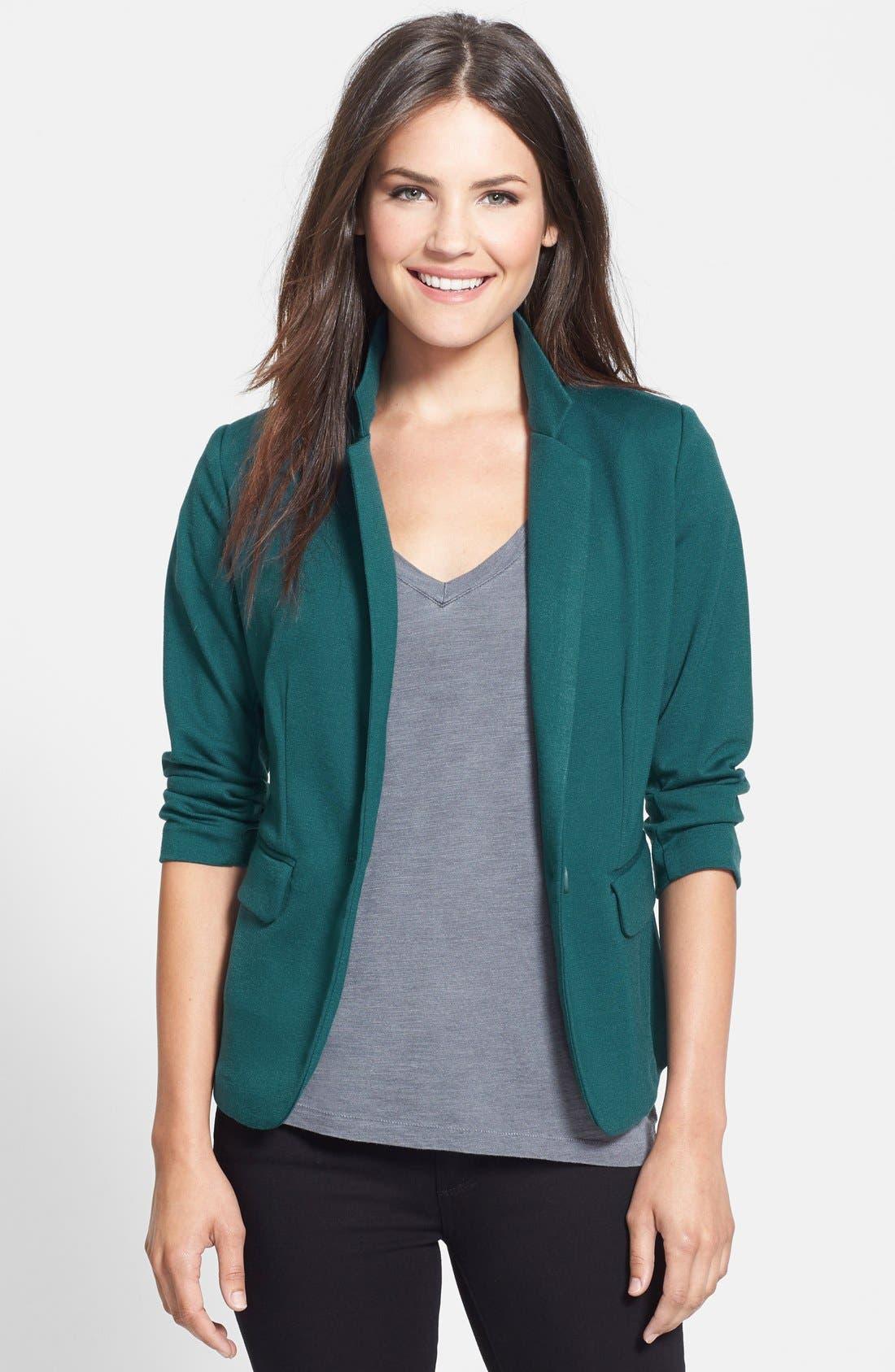 Main Image - Olivia Moon Three Quarter Sleeve Knit Blazer