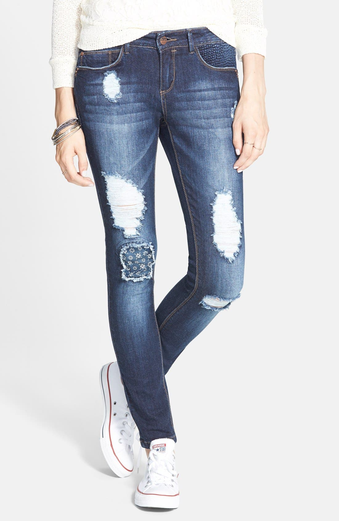 Alternate Image 1 Selected - HART Denim 'Leigh' Destroyed Patched Skinny Jeans (Dark Wash)