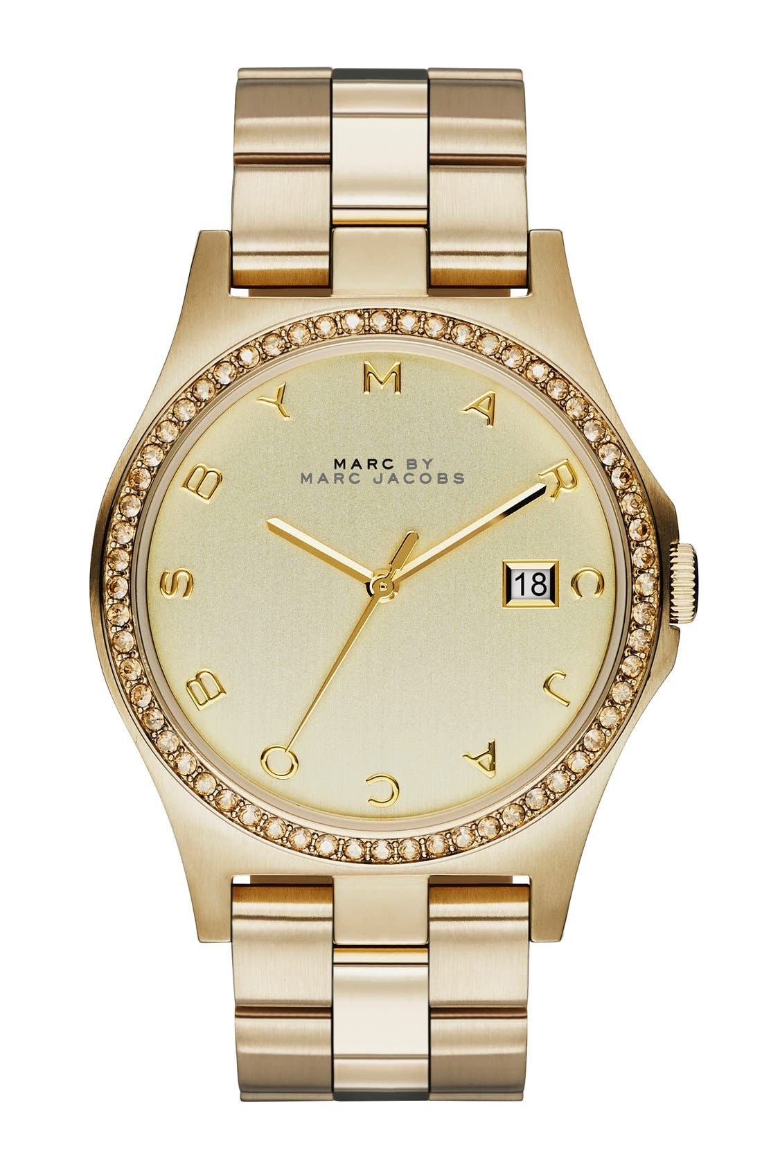 Alternate Image 1 Selected - MARC BY MARC JACOBS 'Henry' Crystal Bezel Bracelet Watch, 40mm