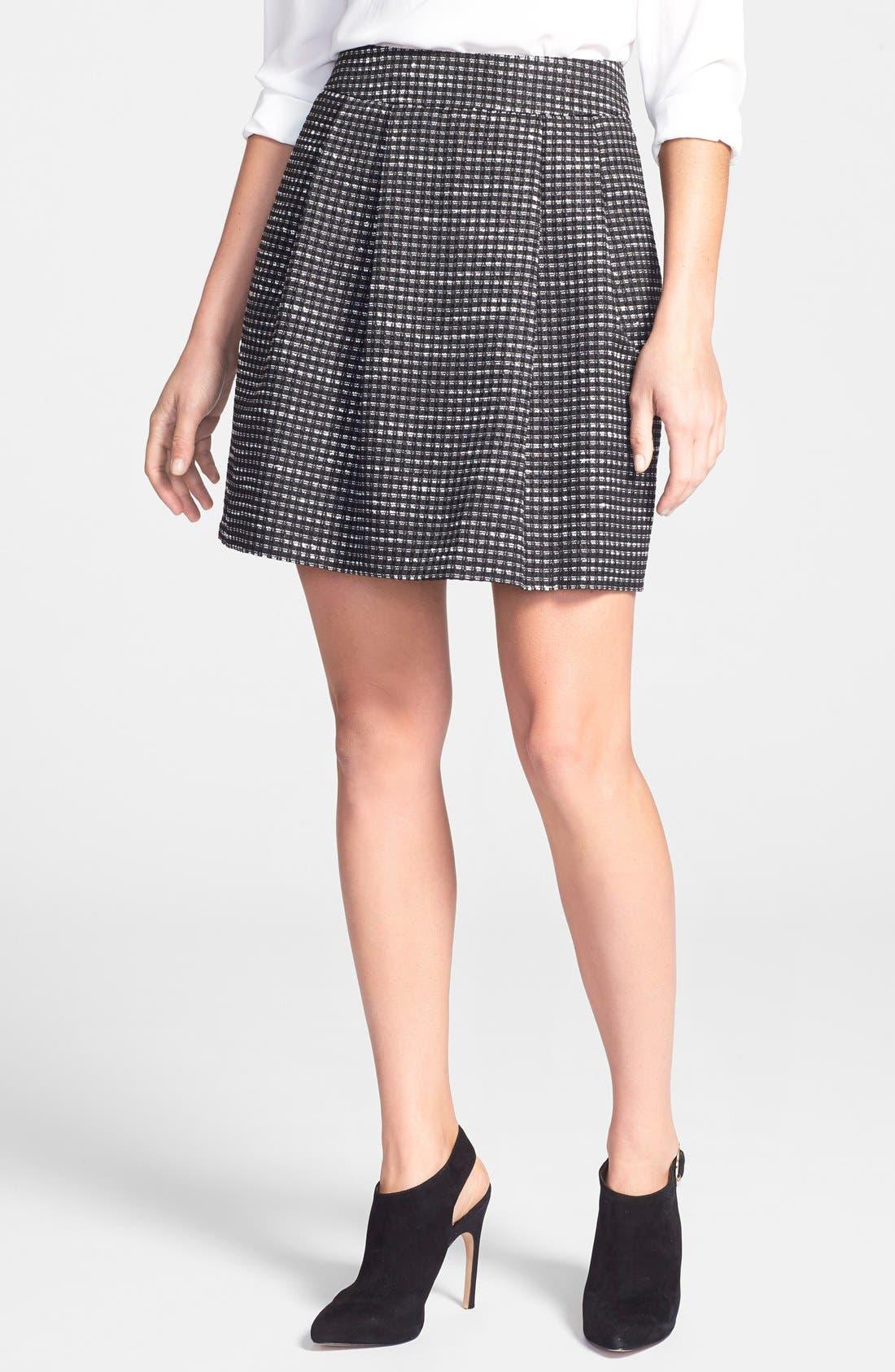Alternate Image 1 Selected - Halogen® Pleated A-Line Skirt (Regular & Petite)