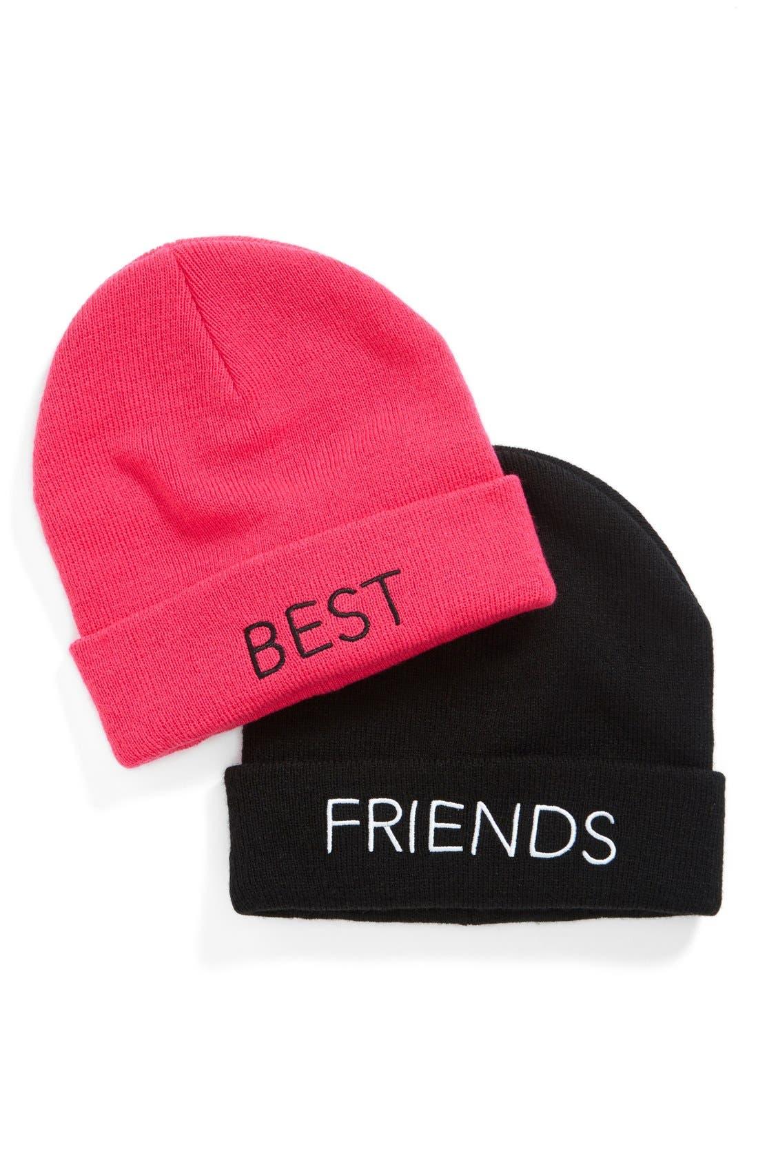 'Bestie' Beanie Set,                         Main,                         color, Black/ Pink