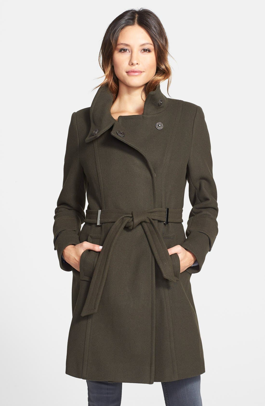 Alternate Image 1 Selected - Elie Tahari 'India' Stand Collar Belted Wool Blend Coat