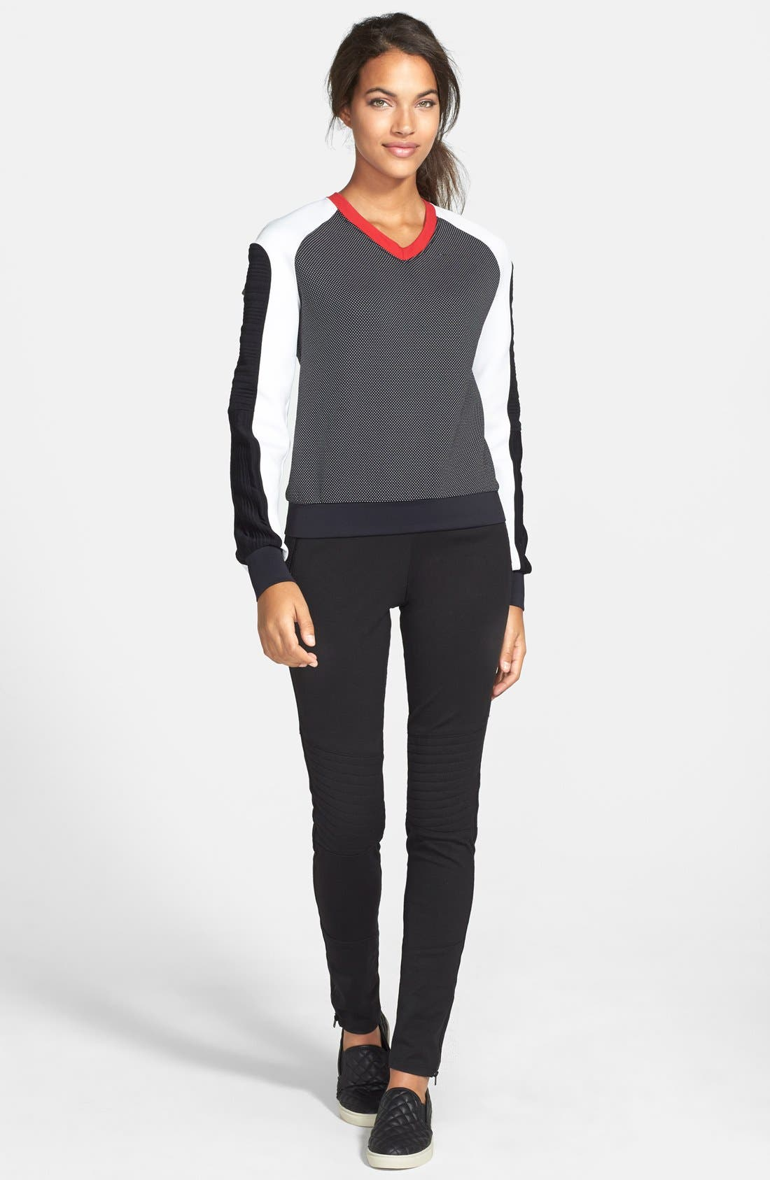 Alternate Image 3  - X by Gottex Quilted Panel Ponte Leggings