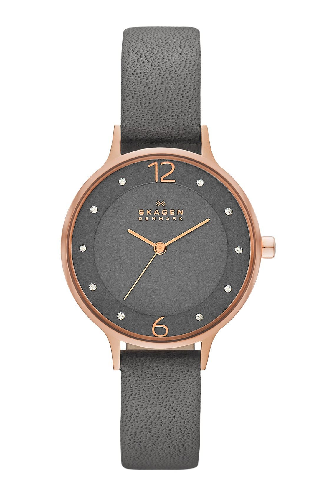 Alternate Image 1 Selected - Skagen 'Anita' Crystal Index Leather Strap Watch, 30mm