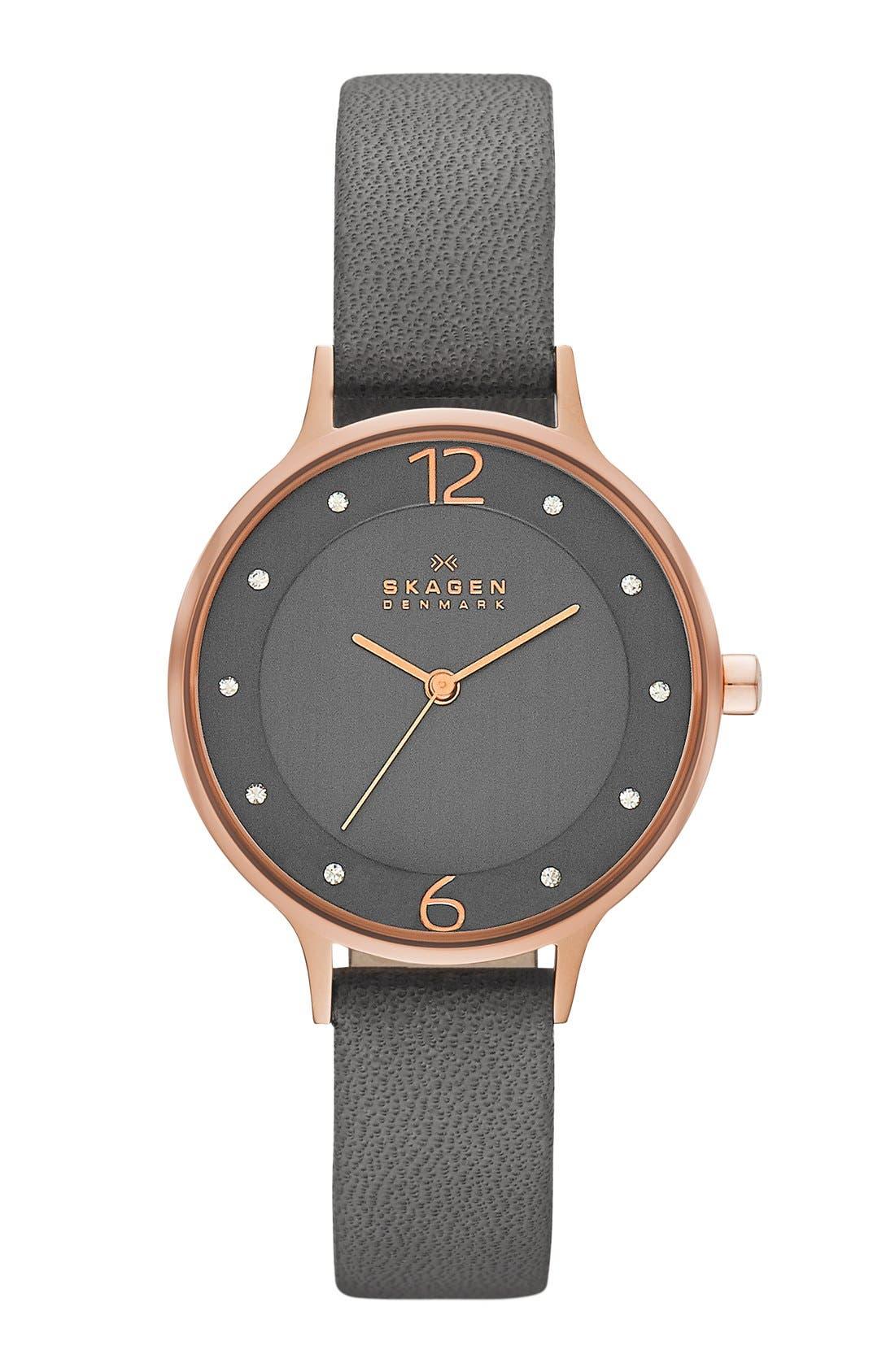 Main Image - Skagen 'Anita' Crystal Index Leather Strap Watch, 30mm