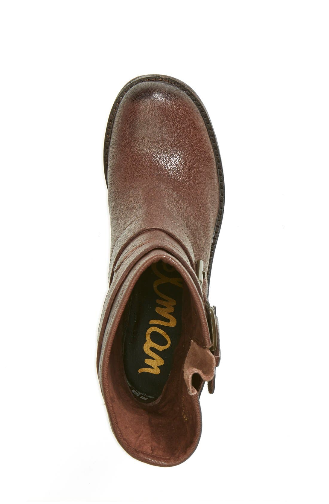 'Troy' Moto Boot,                             Alternate thumbnail 5, color,                             Dark Brown Leather