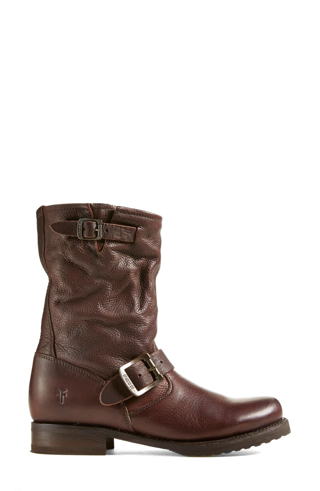 'Veronica Short' Slouchy Boot,                             Alternate thumbnail 3, color,                             Dark Brown Leather