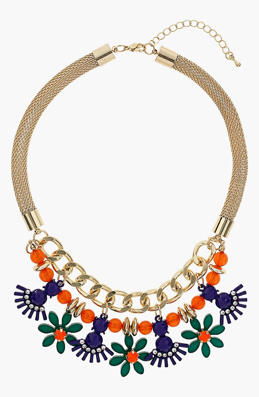 Main Image - Topshop Bright Stone Chain Frontal Necklace