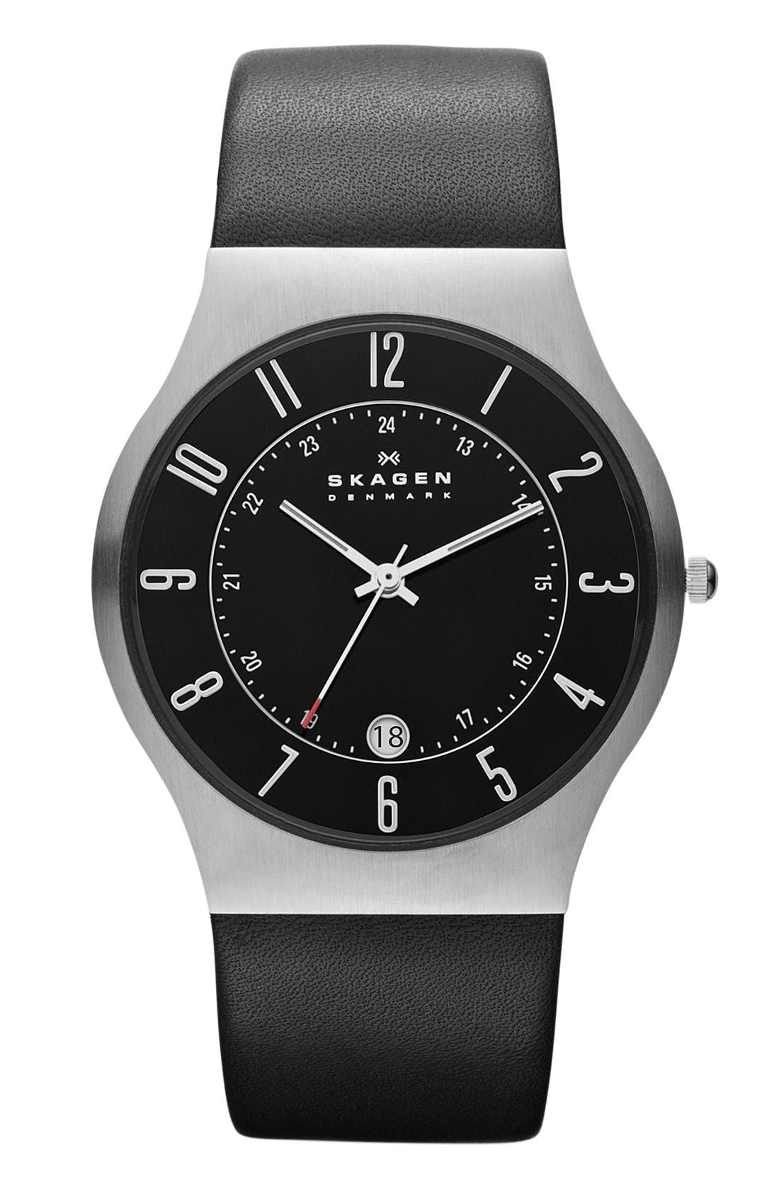 'Grenen' Titanium Case Watch,                             Main thumbnail 1, color,                             Matte Black