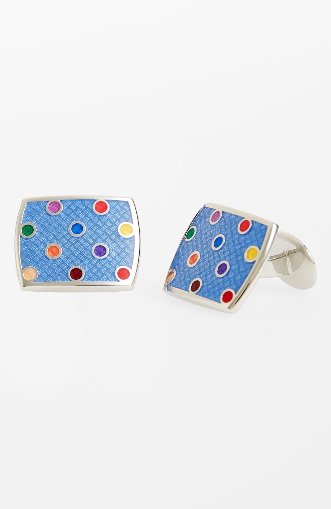 Polka Dot Cuff Links,                         Main,                         color, Silver/ Blue/ Multi