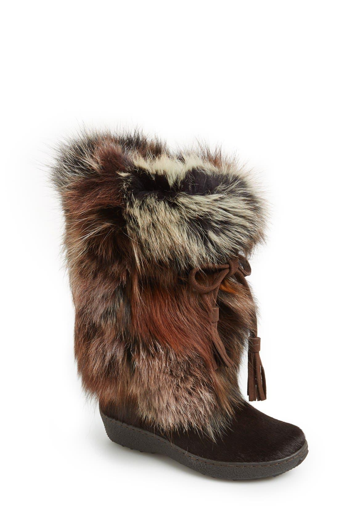 Main Image - Pajar 'Fox Trot' Genuine Fox Fur & Calf Hair Boot (Women)