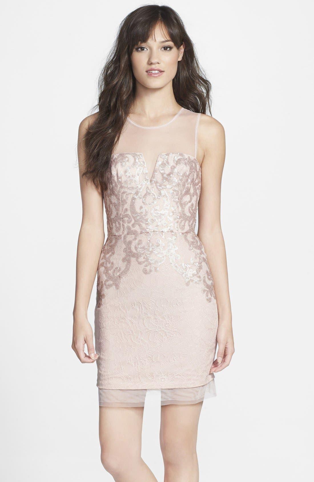 BCBGMAXAZRIA Embellished Lace Sheath Dress