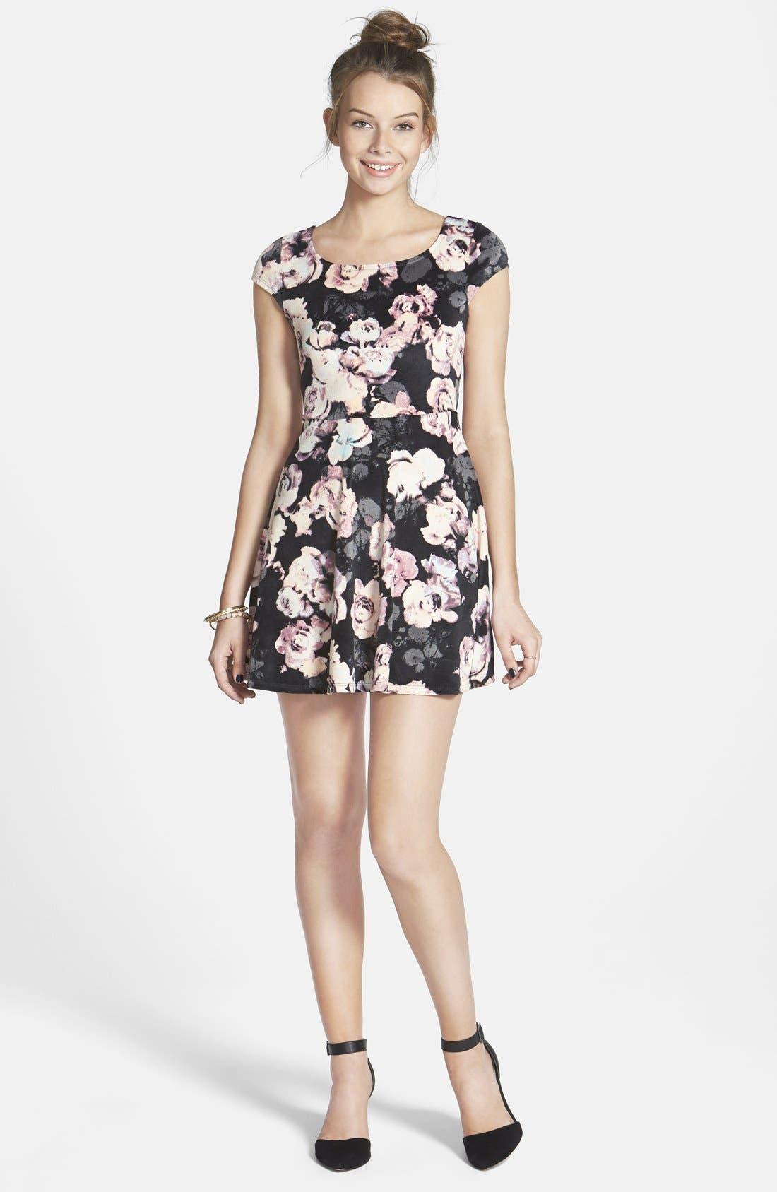 Main Image - Fire Floral Print Bow Back Velvet Skater Dress (Juniors)