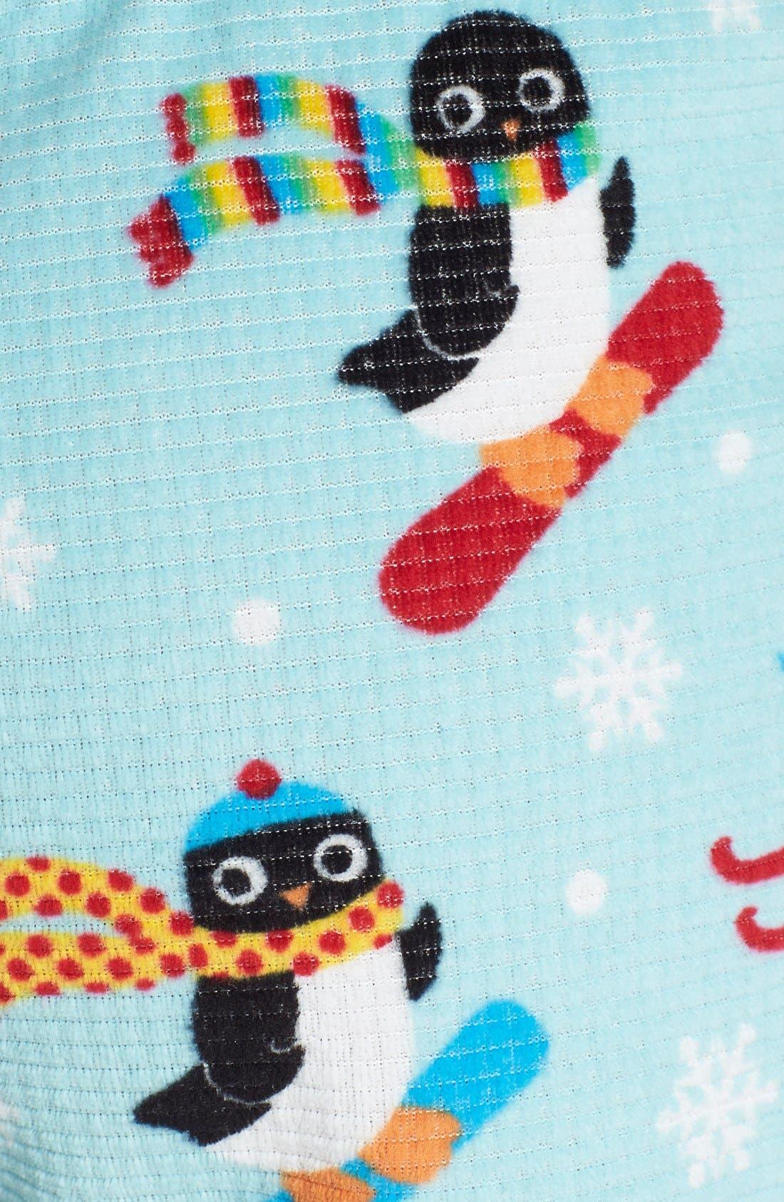 Alternate Image 3  - PJ Salvage 'Penguin Pivot' Print Velour Thermal Shorts