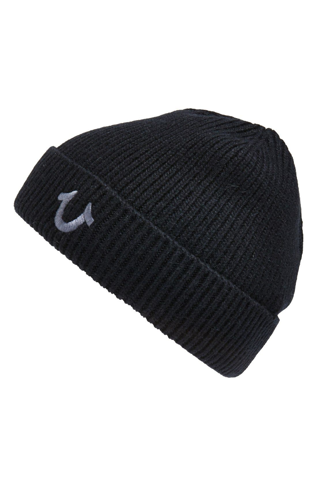 Rib Knit Cap,                             Main thumbnail 1, color,                             Black/Grey