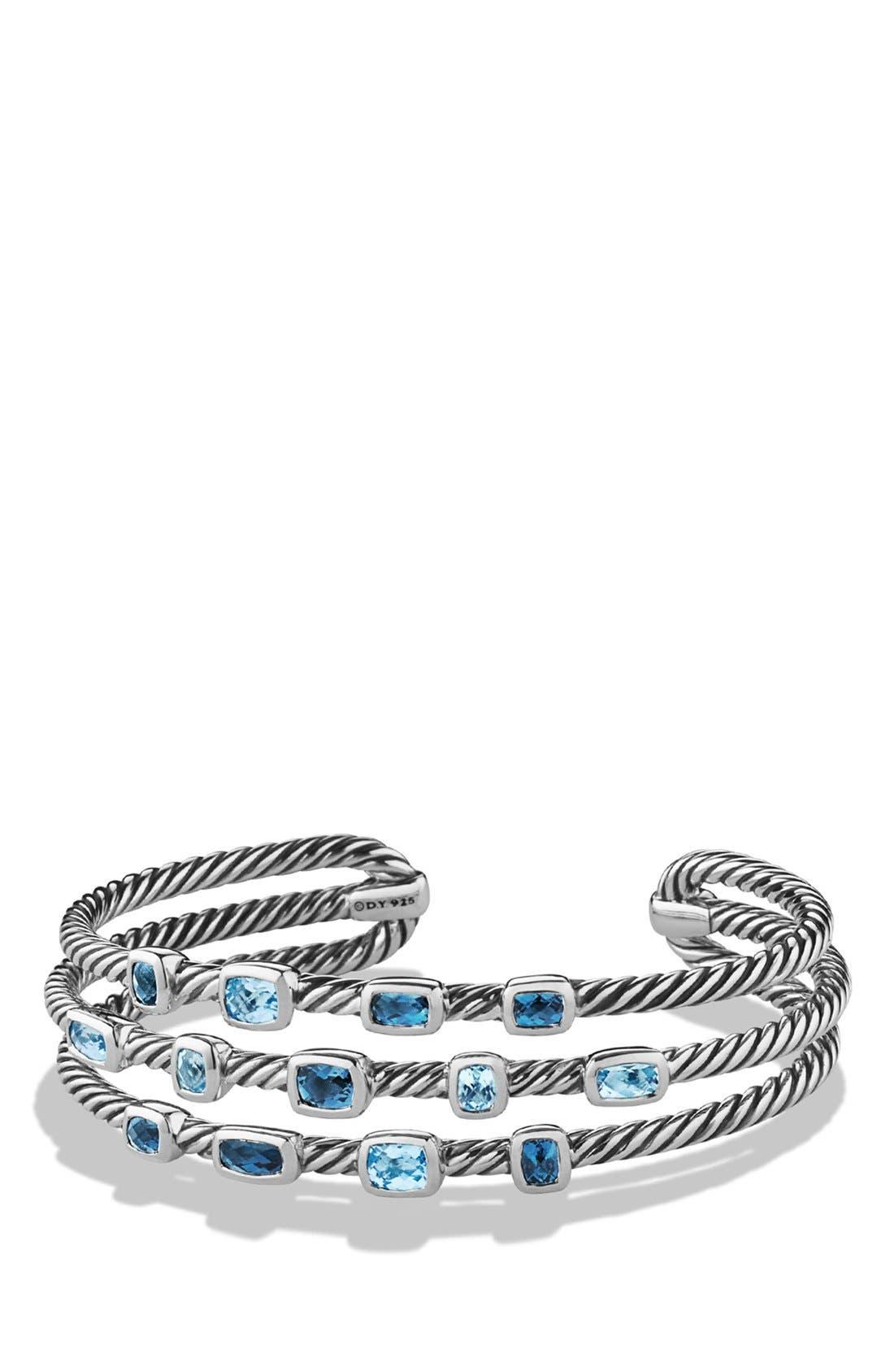 Alternate Image 1 Selected - David Yurman 'Confetti' Narrow Cuff Bracelet with Blue Topaz and Hampton Blue Topaz