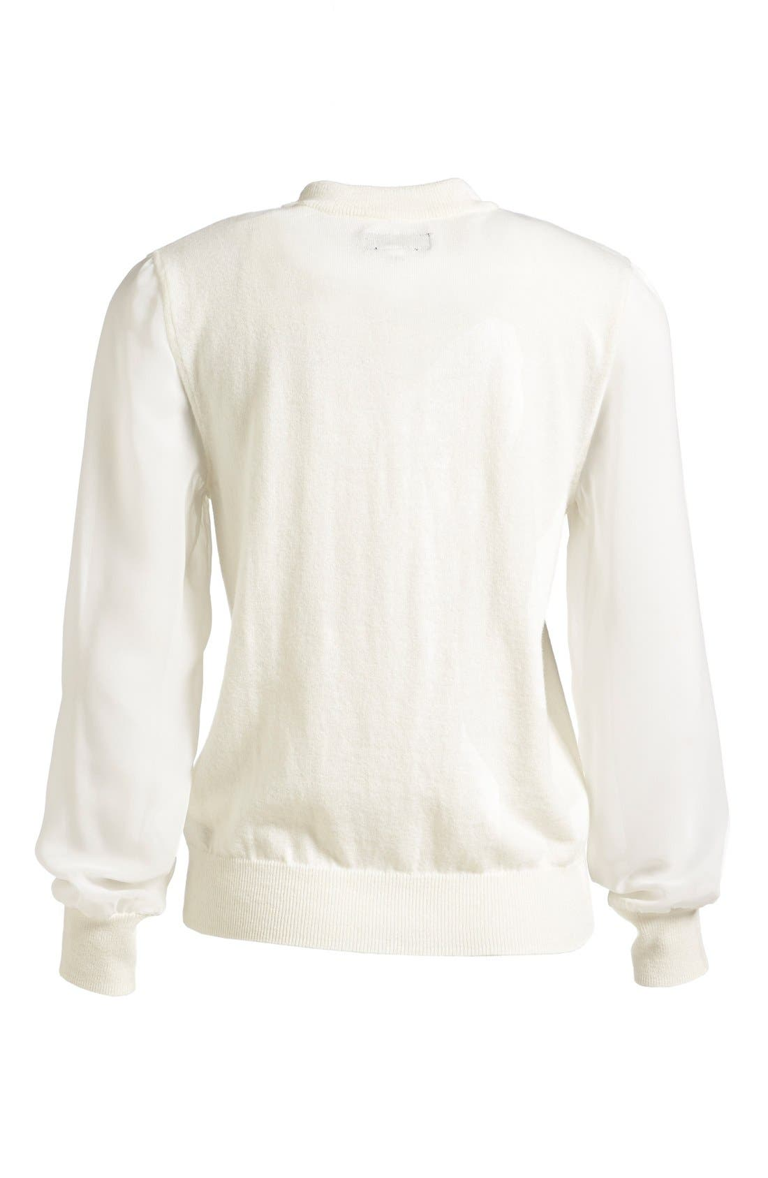Chiffon Sleeve Knit Pullover,                             Alternate thumbnail 7, color,                             Raw White