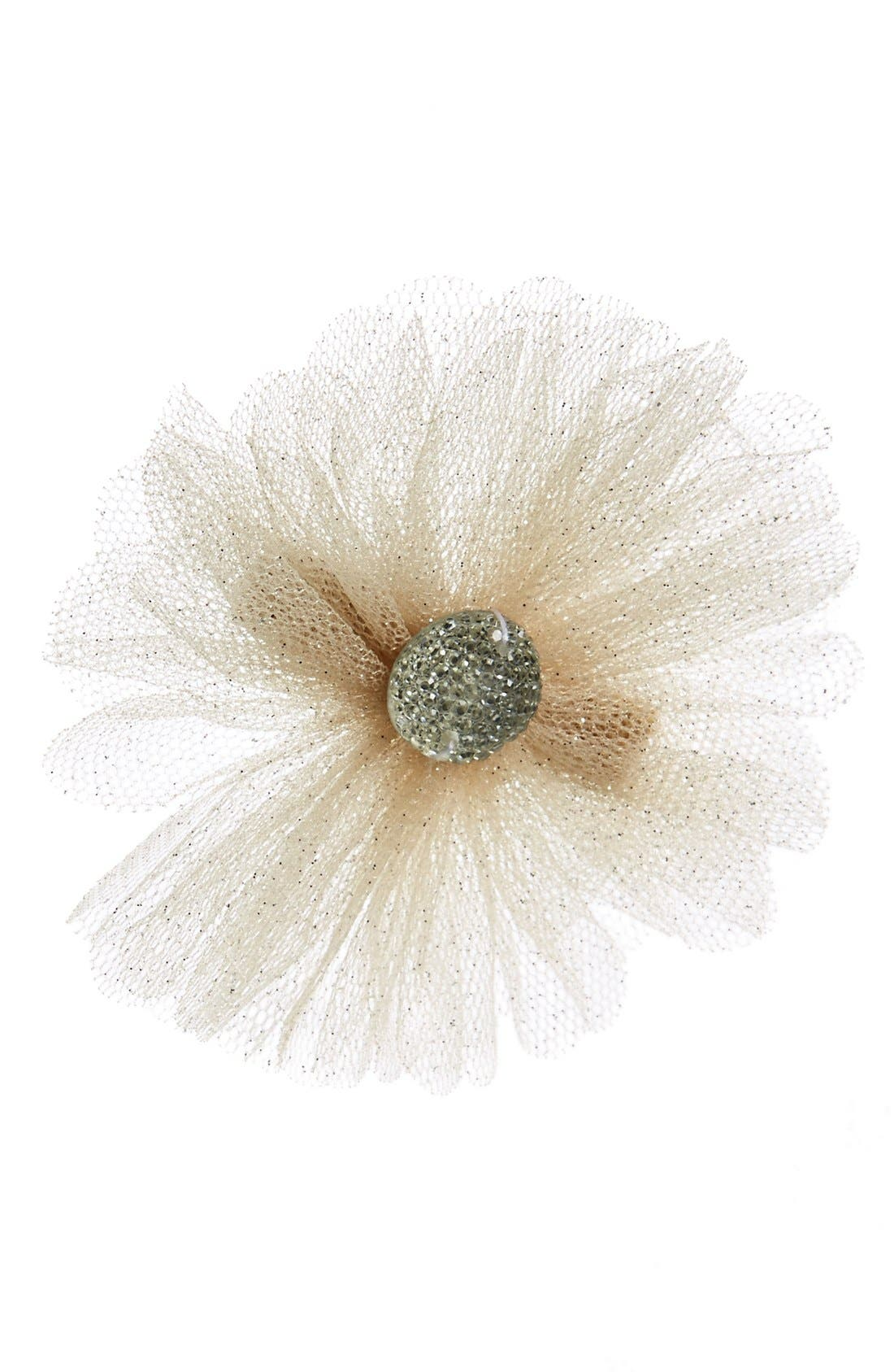 Alternate Image 1 Selected - PLH Bows & Laces Glitter Flower Hair Clip (Baby Girls)