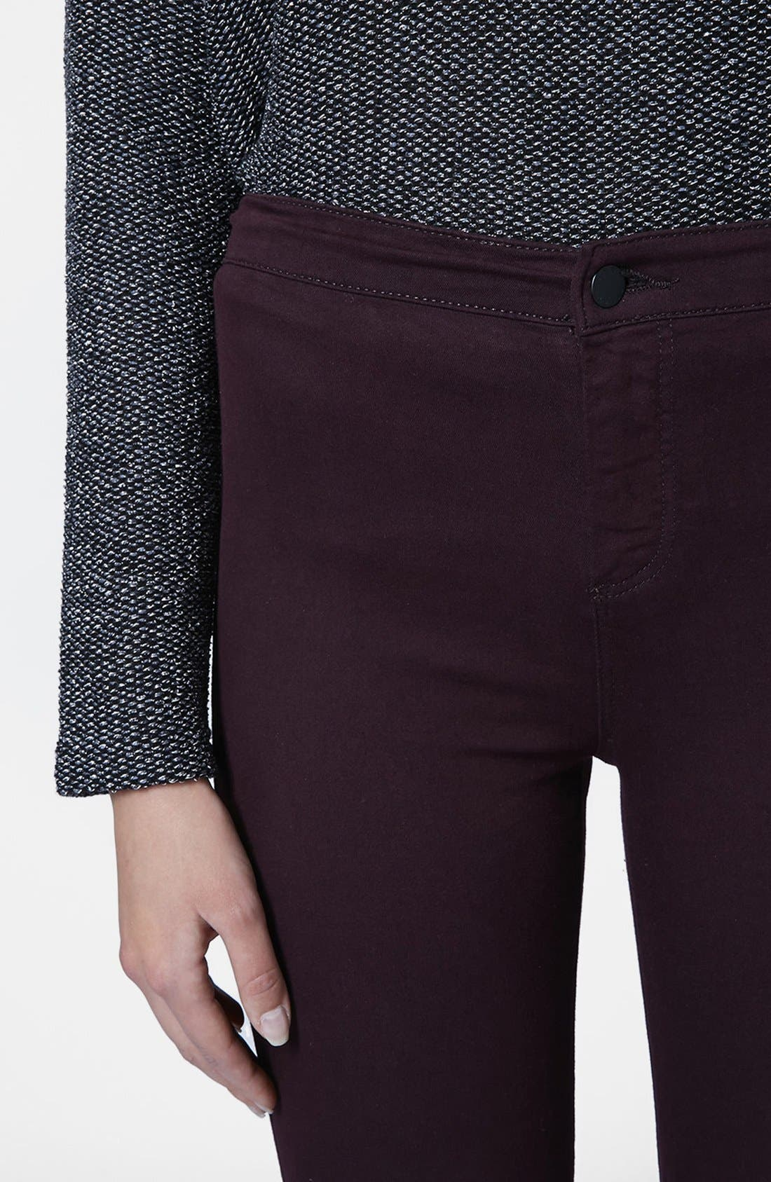 Alternate Image 4  - Topshop Moto 'Joni' High Rise Skinny Jeans (Purple) (Petite)