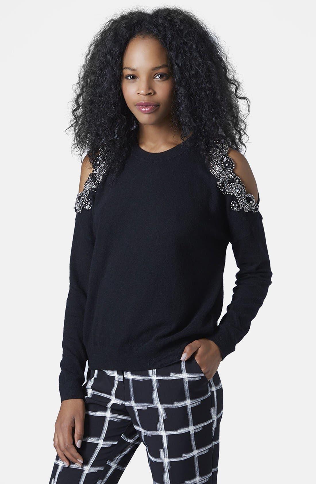 Main Image - Topshop Embellished Cold Shoulder Sweater