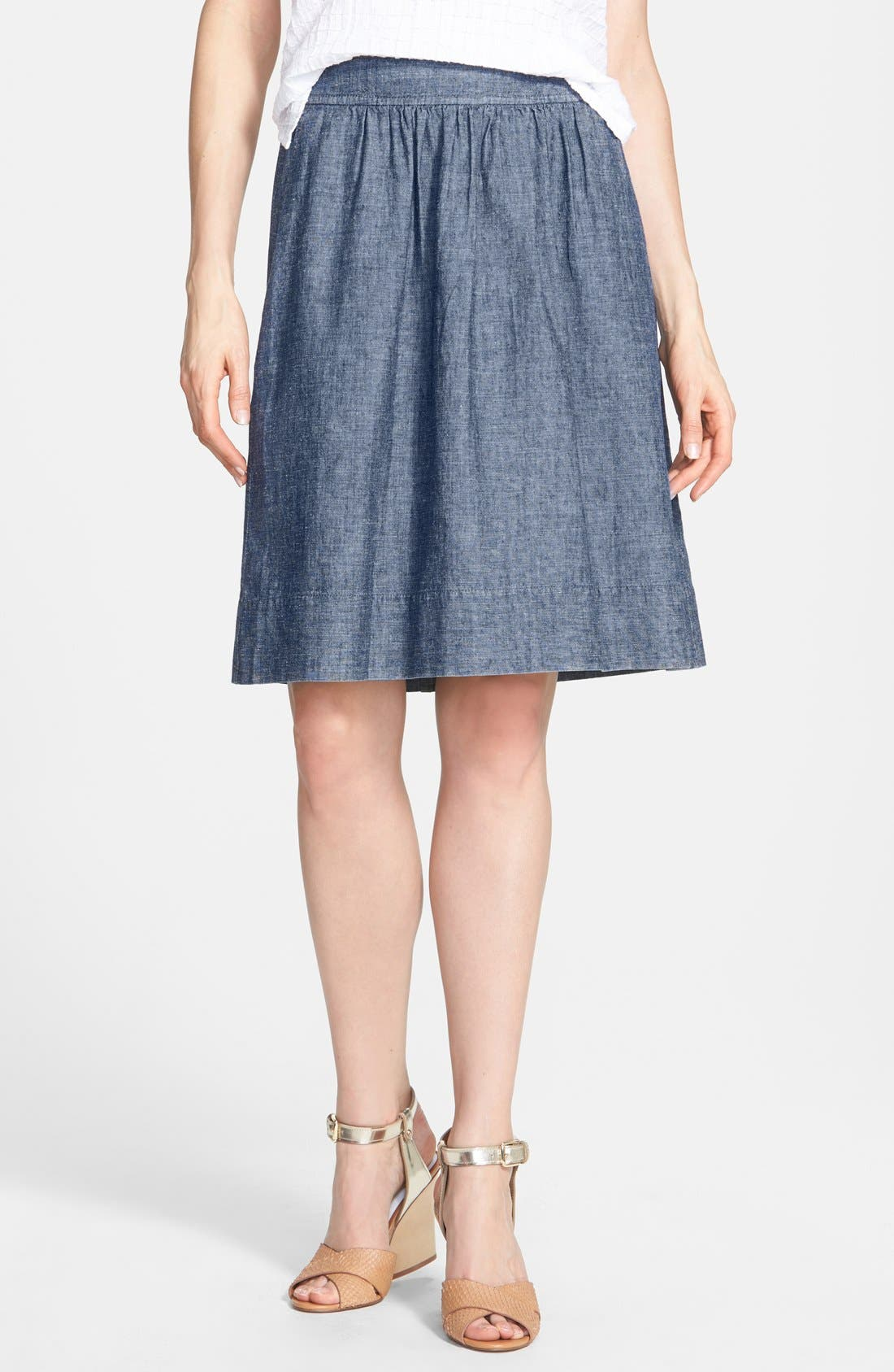 Alternate Image 1 Selected - Eileen Fisher Hemp & Organic Cotton A-Line Skirt (Regular & Petite)