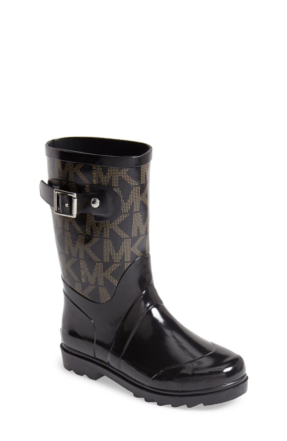 'Daisy Logo' Rain Boot,                         Main,                         color, Black