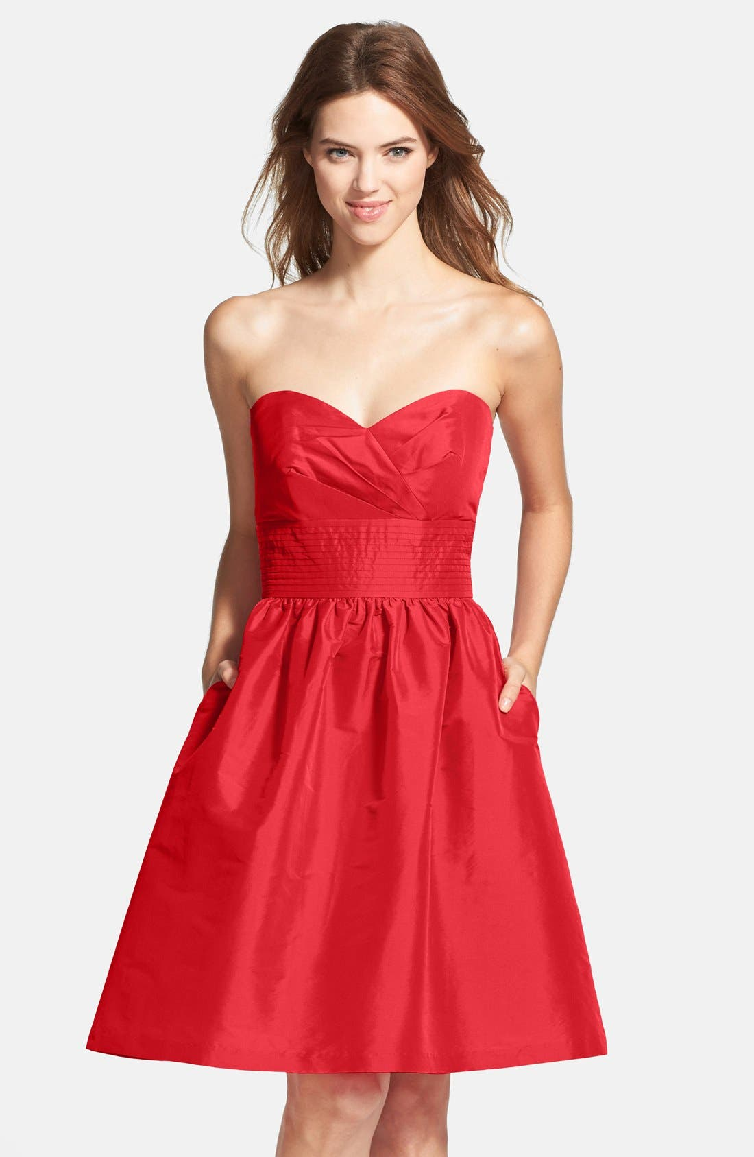 Main Image - Alfred Sung Strapless Satin Fit & Flare Dress