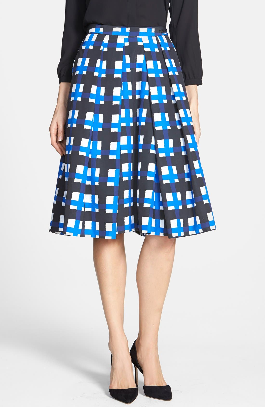 Alternate Image 1 Selected - Pink Tartan 'Tabitha' Check Print Pleat Skirt