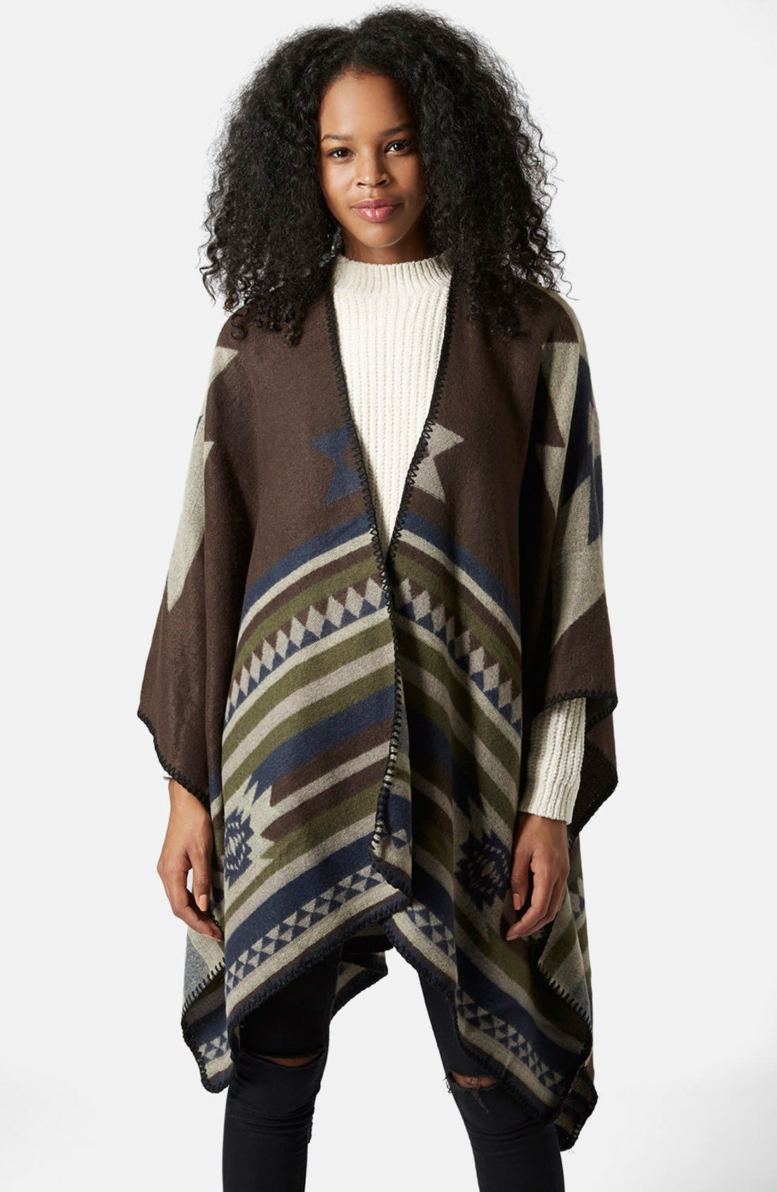 Geo Print Poncho,                             Main thumbnail 1, color,                             Brown