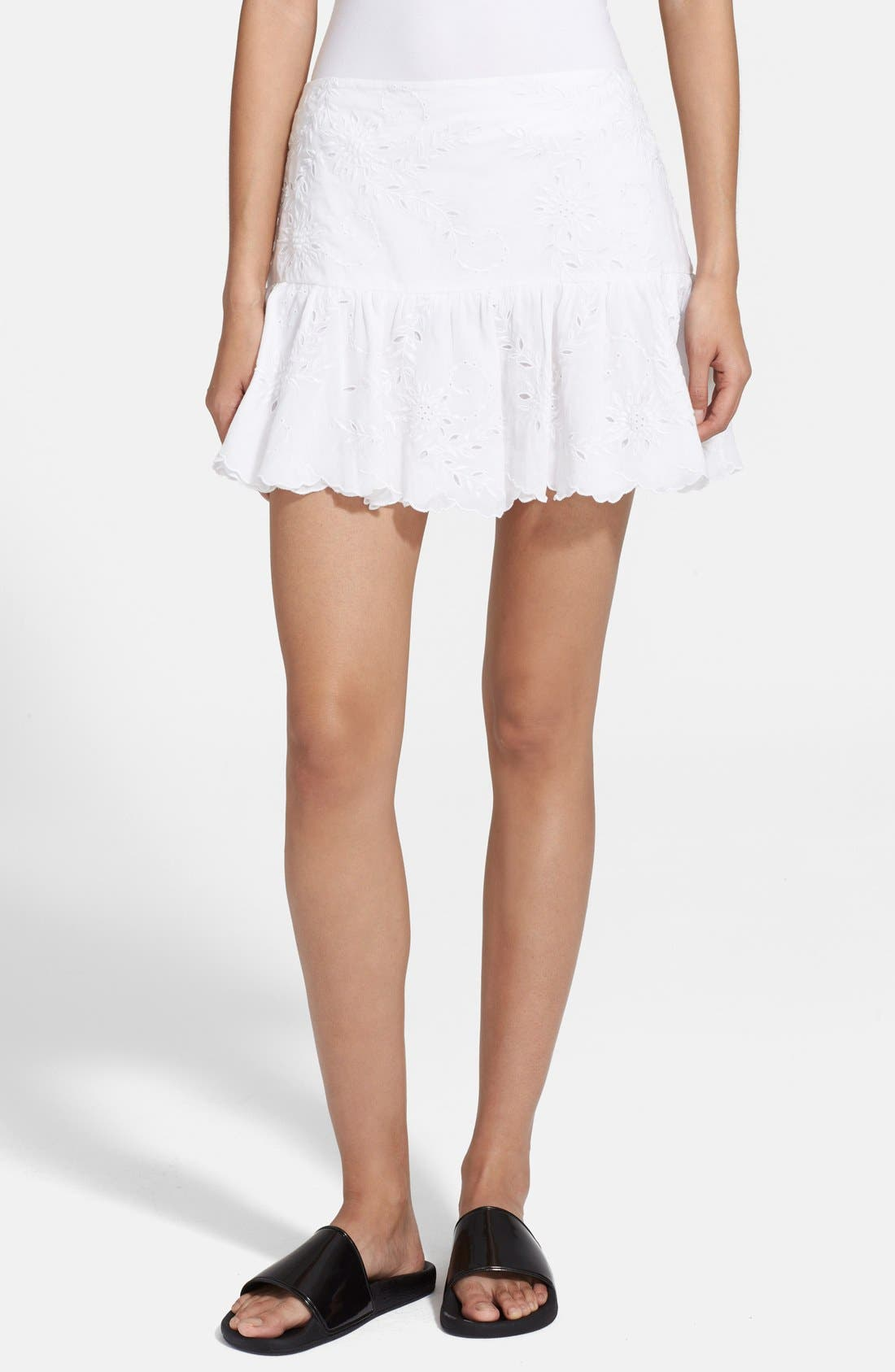 Alternate Image 1 Selected - Zadig & Voltaire Embroidered Ruffle Hem Miniskirt