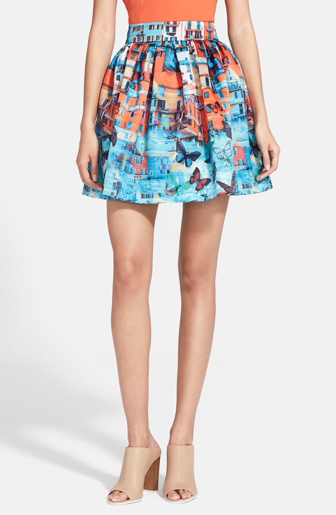 Alternate Image 1 Selected - Alice + Olivia 'Stora' Print Pouf Skirt