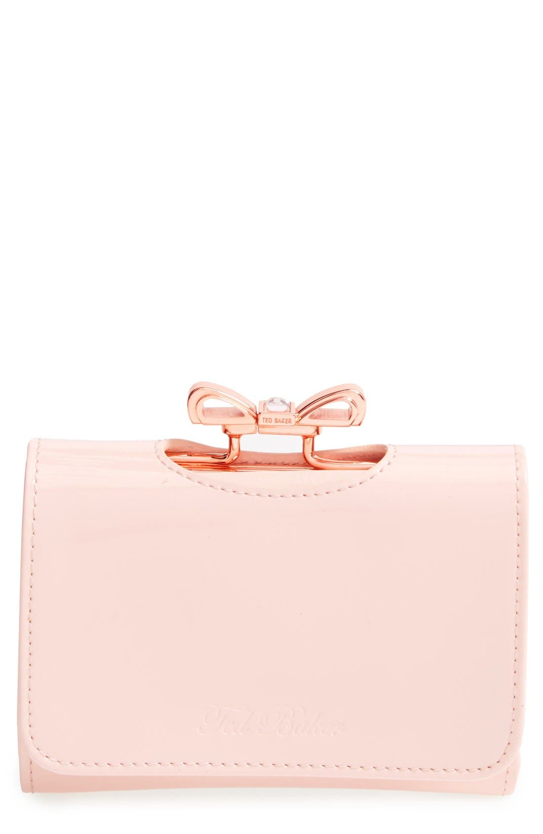 'Crystal Bow - Small' Patent Leather Clutch Wallet,                             Main thumbnail 1, color,                             Light Pink