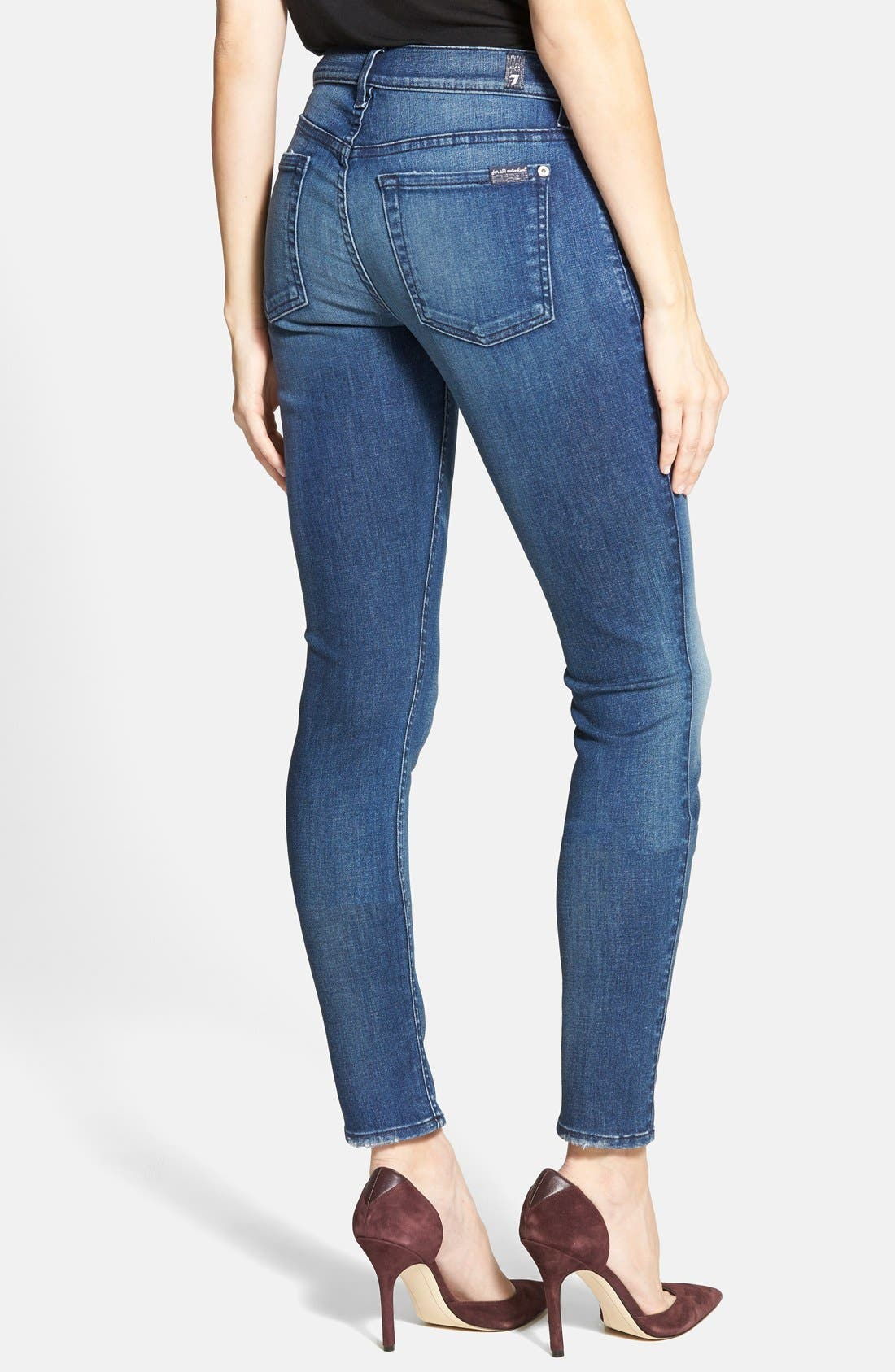 Alternate Image 2  - 7 For All Mankind® 'The Skinny' Mid Rise Jeans (Summit Blue)