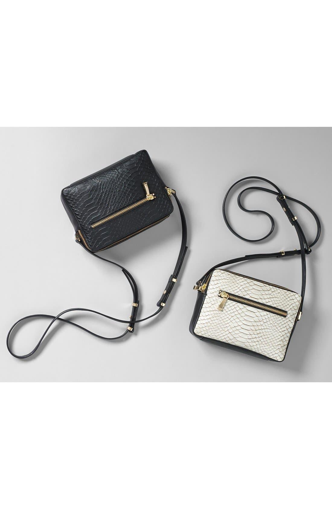 Alternate Image 8  - Halogen® Leather Double Zip Crossbody Bag
