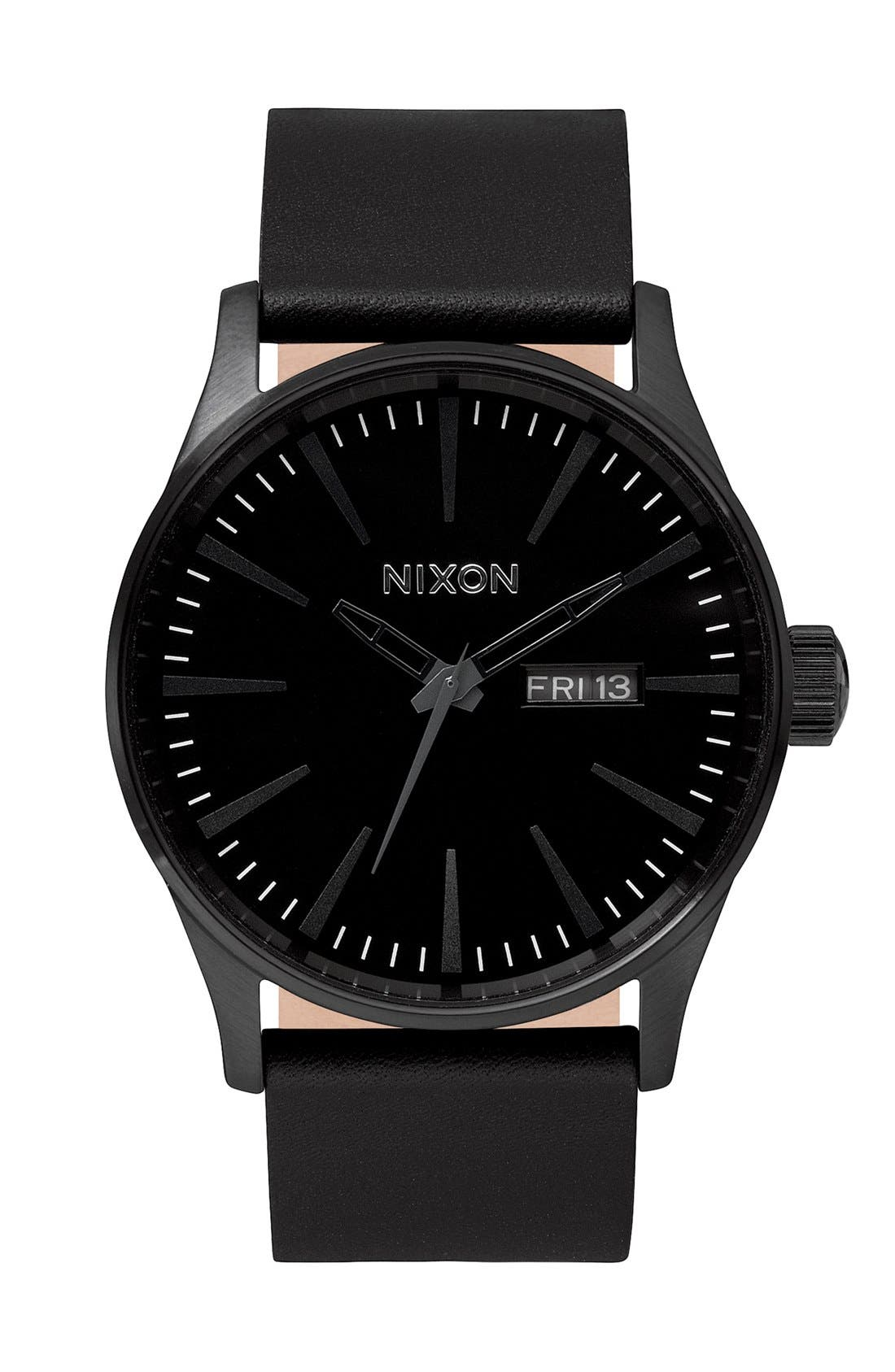 The Sentry Leather Strap Watch, 42mm,                         Main,                         color, All Black