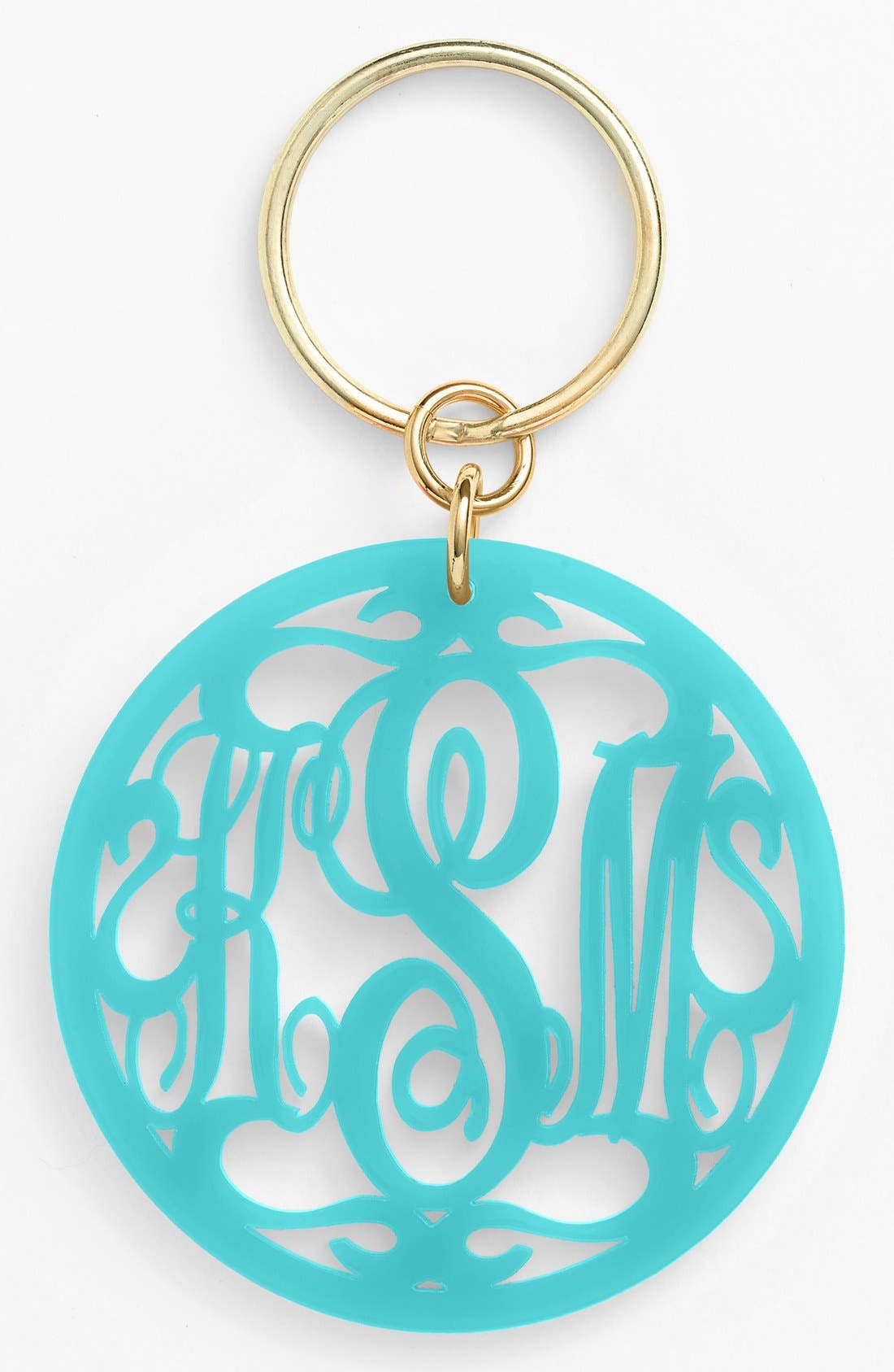 Personalized Monogram Key Chain,                             Main thumbnail 1, color,                             Robins Egg