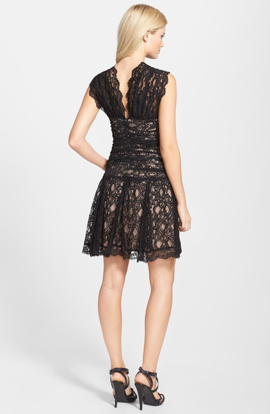 Alternate Image 2  - Nicole Miller Stretch Lace Fit & Flare Dress