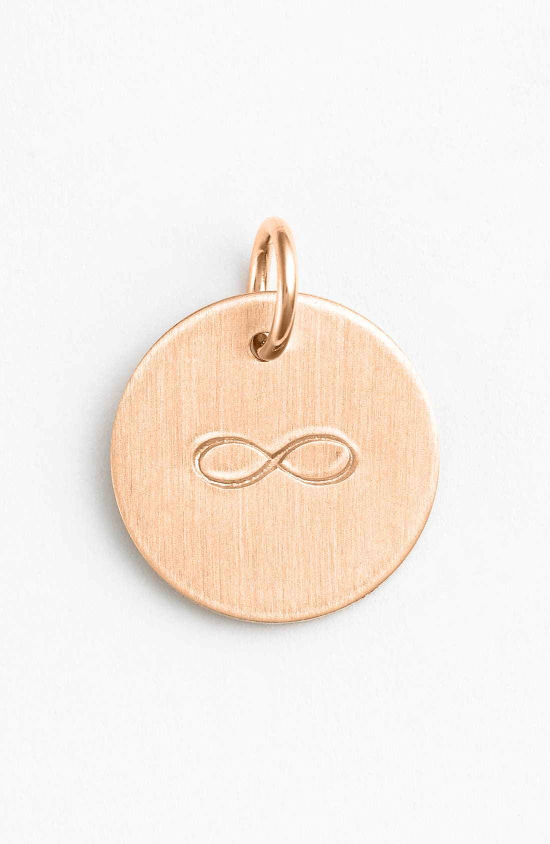 Infinity Stamp Charm,                             Main thumbnail 1, color,                             14K Rose Gold Fill Infinity