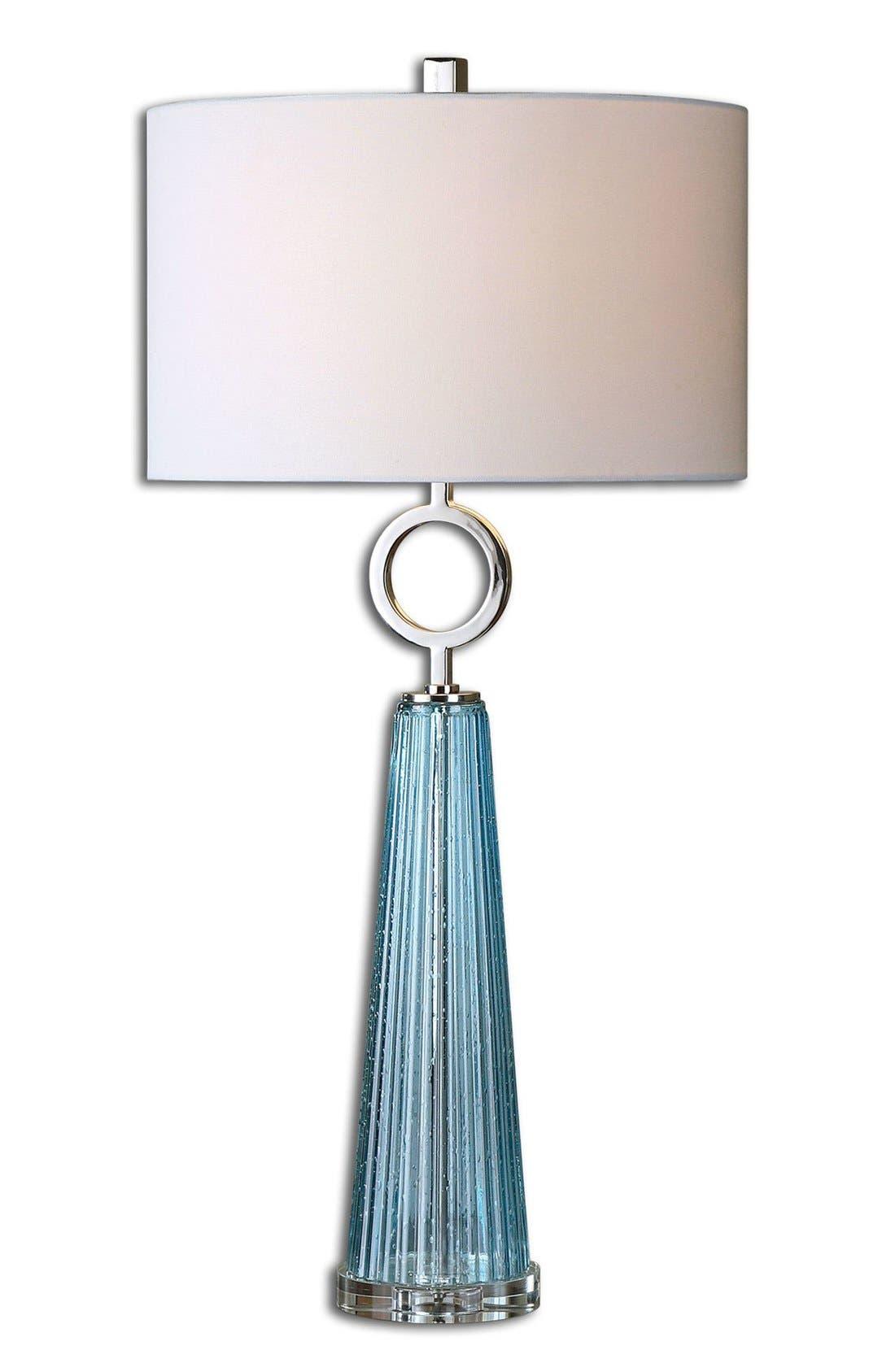 'Navier' Seed Glass & Metallic Table Lamp,                             Main thumbnail 1, color,                             Blue