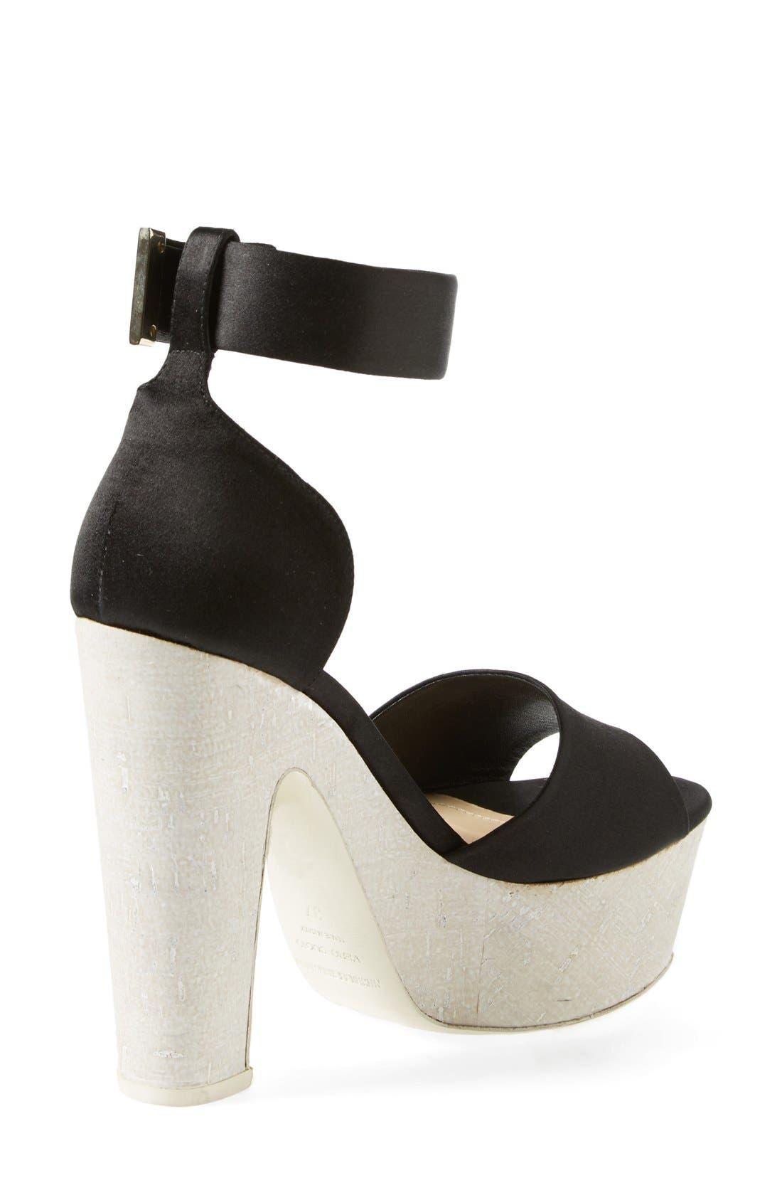 'Pearl' Platform Ankle Strap Sandal,                             Alternate thumbnail 2, color,                             Black