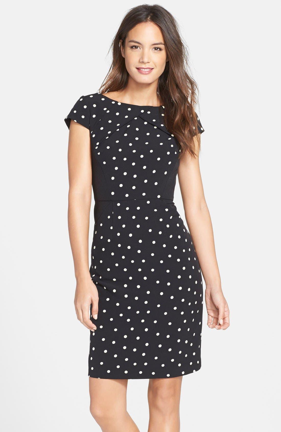 Alternate Image 1 Selected - Adrianna Papell Polka Dot Pleat Detail Sheath Dress
