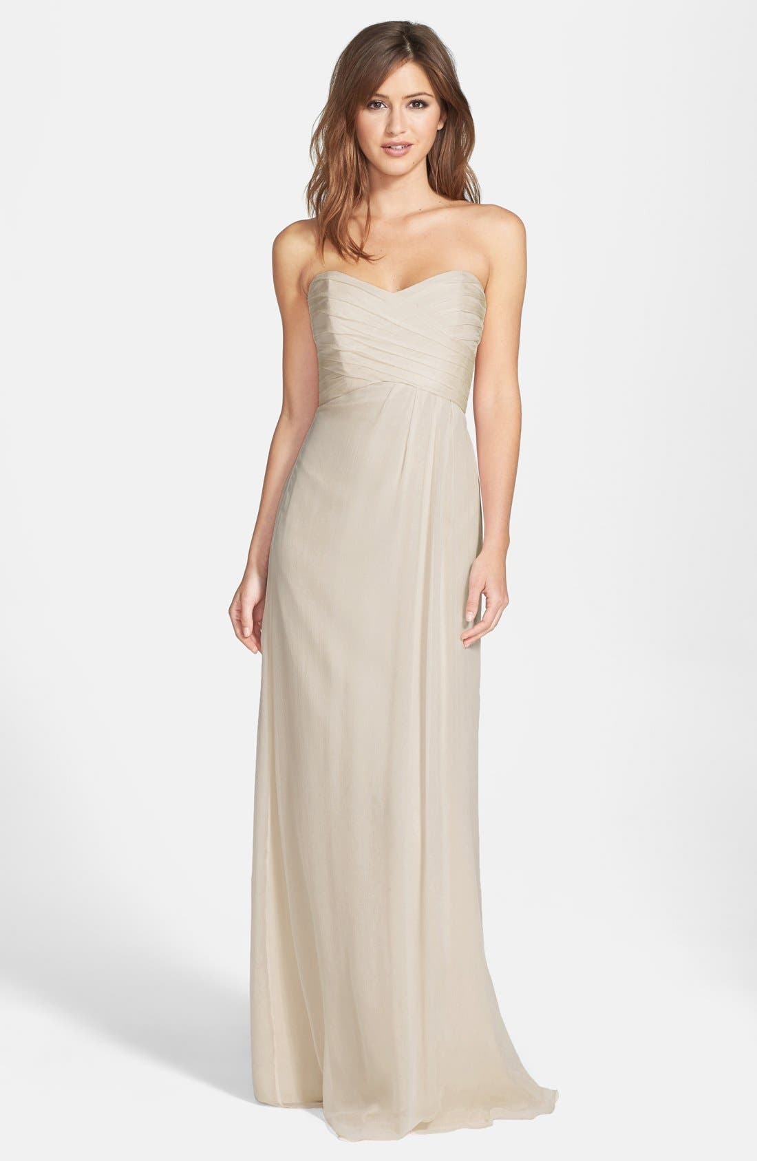 Strapless Crinkle Chiffon Gown,                         Main,                         color, Champagne
