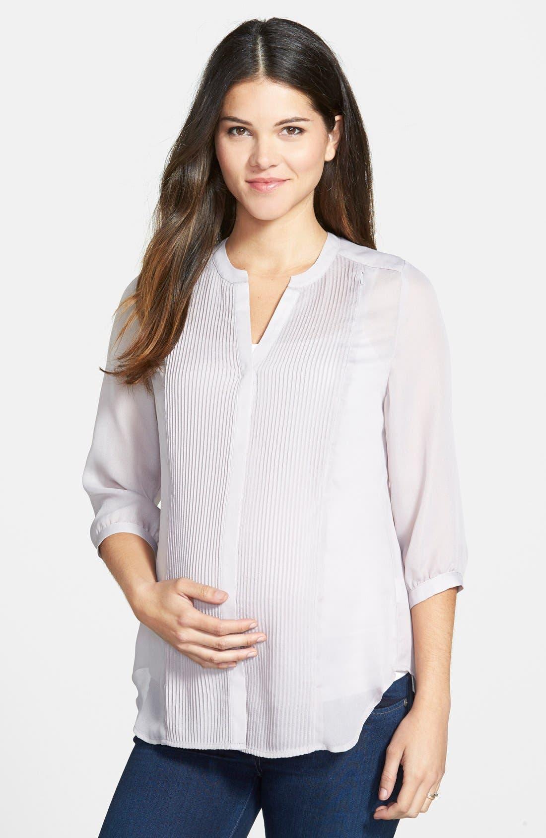 'Audrey' Maternity/Nursing Tuxedo Blouse,                         Main,                         color, Grey