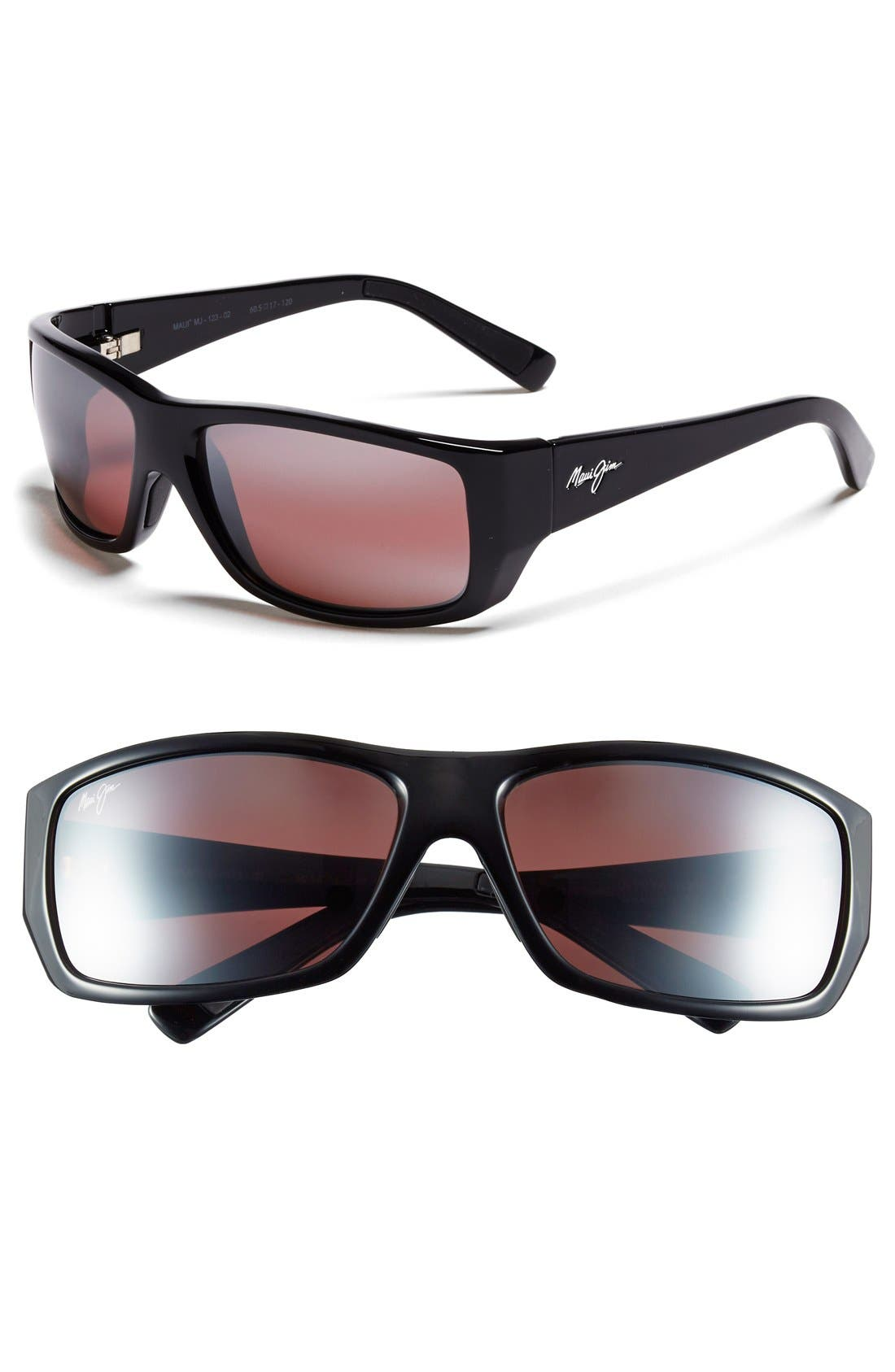 'Wassup - PolarizedPlus<sup>®</sup>2' 61mm Polarized Sunglasses,                         Main,                         color, Gloss Black/ Maui Rose