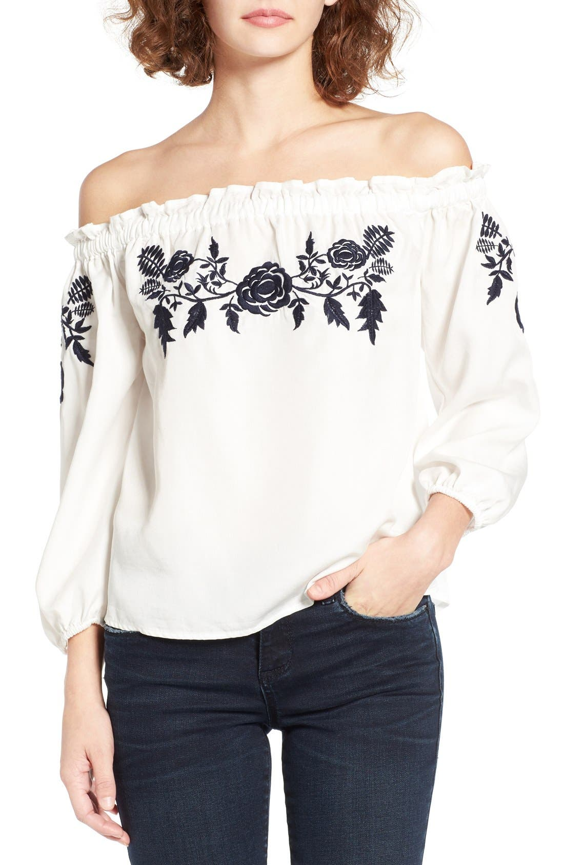 Embroidered Off the Shoulder Top,                         Main,                         color, White W/ Navy
