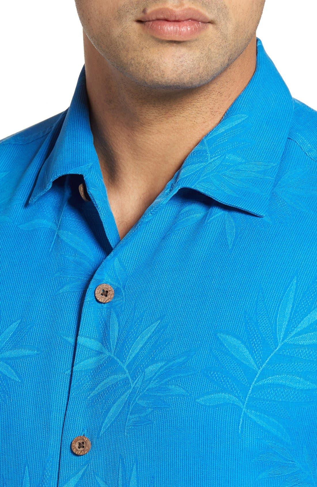Luau Floral Silk Shirt,                             Alternate thumbnail 4, color,                             Download Blue
