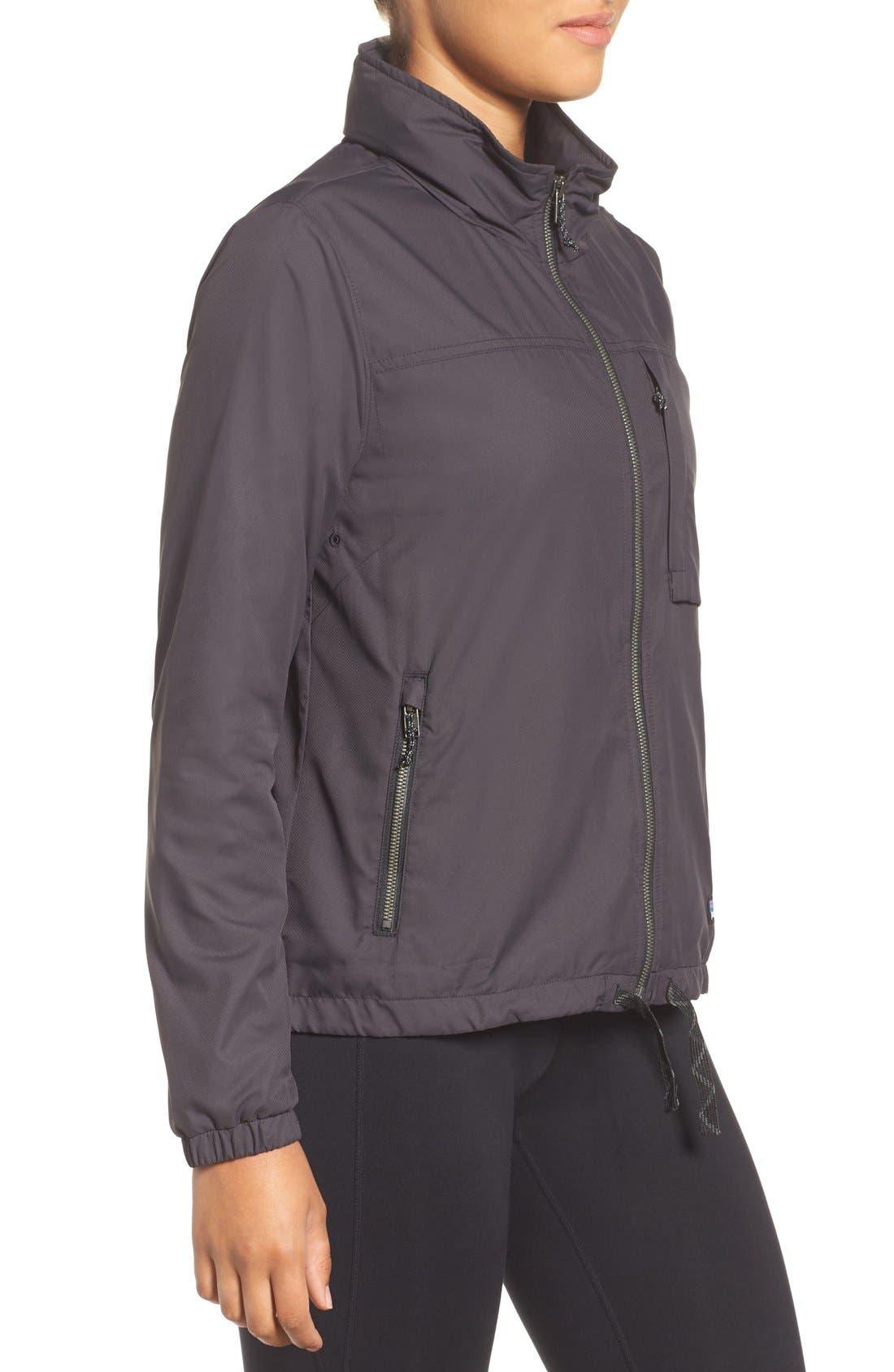 Mountain View Windbreaker Jacket,                             Alternate thumbnail 3, color,                             Ink Black