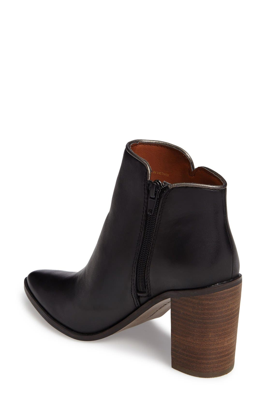 Mytah Pointy Toe Bootie,                             Alternate thumbnail 2, color,                             Black Leather