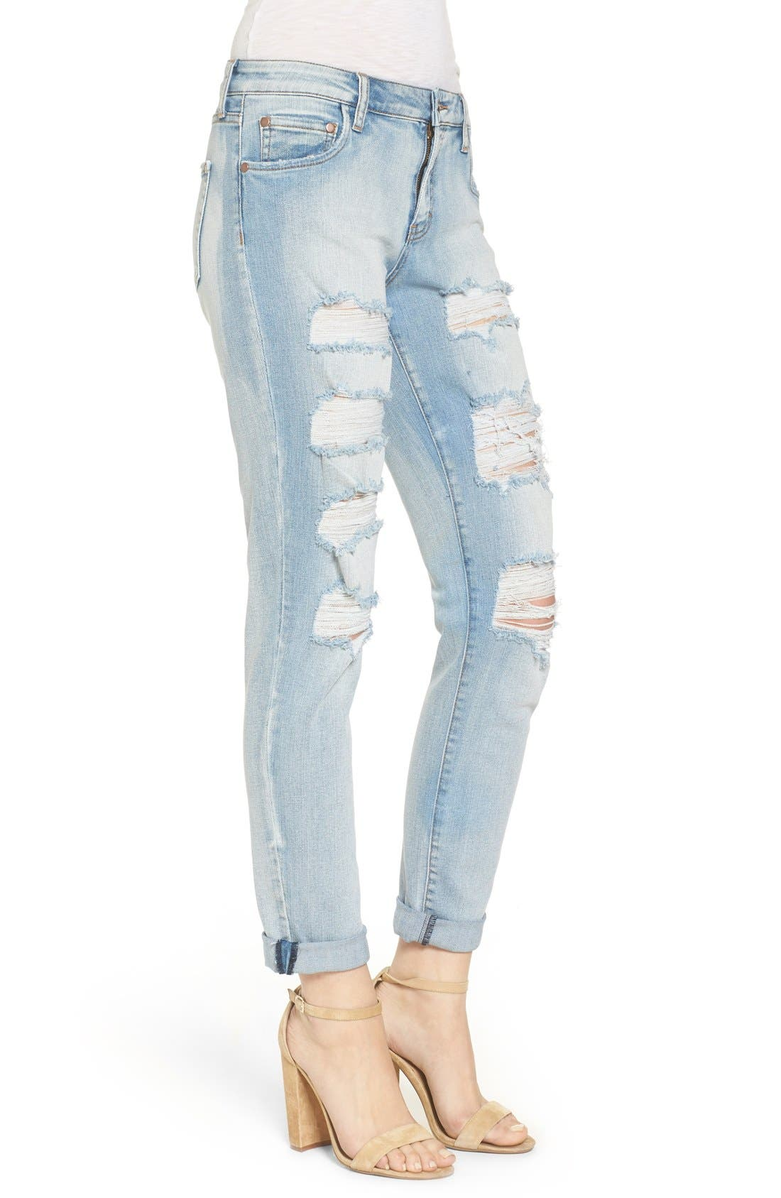 Ripped Skinny Boyfriend Jeans,                             Alternate thumbnail 3, color,                             Mission Bay