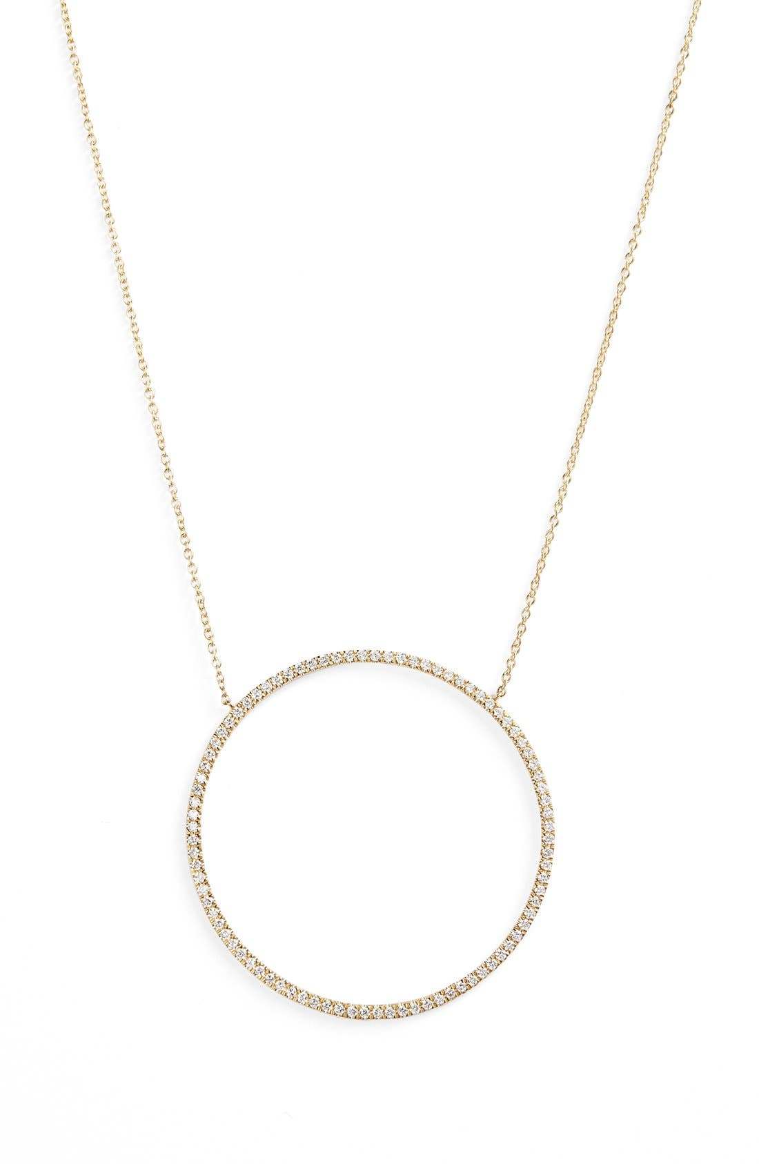 Large Circle Pendant Necklace,                             Main thumbnail 1, color,                             Yellow Gold